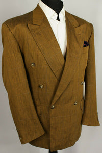 Brown Flax Linen Blazer Jacket Double Breasted 40R EXCEPTIONAL 3425