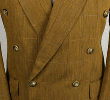 Load image into Gallery viewer, Brown Flax Linen Blazer Jacket Double Breasted 40R EXCEPTIONAL 3425