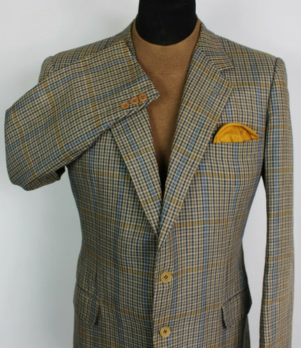 Burberry Linen Blazer Jacket Brown Blue Check 42R EXCLUSIVE COMMISSION 3929