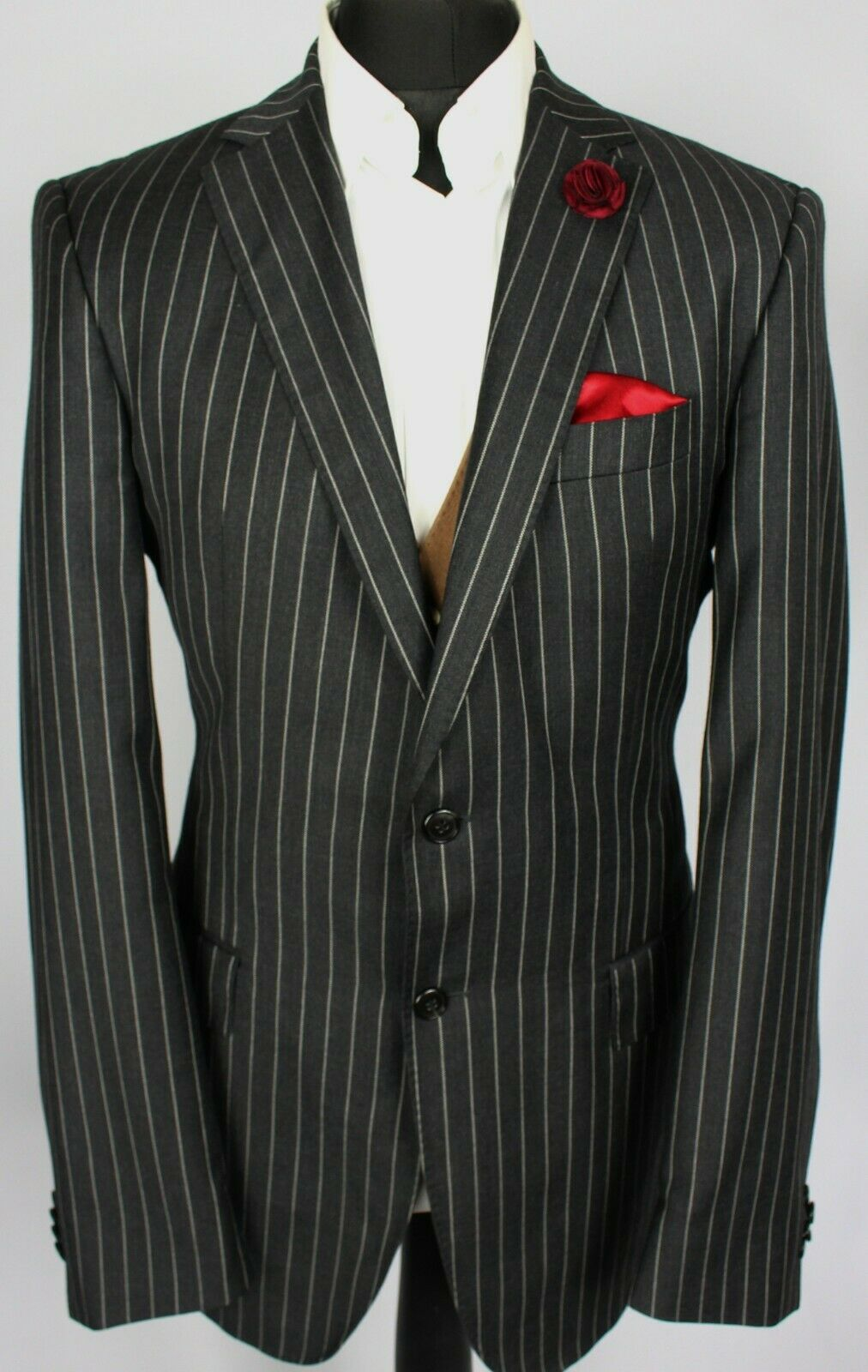 Jacket Blazer Tommy Hilfiger Charcoal Lightweight 100% Wool 42L