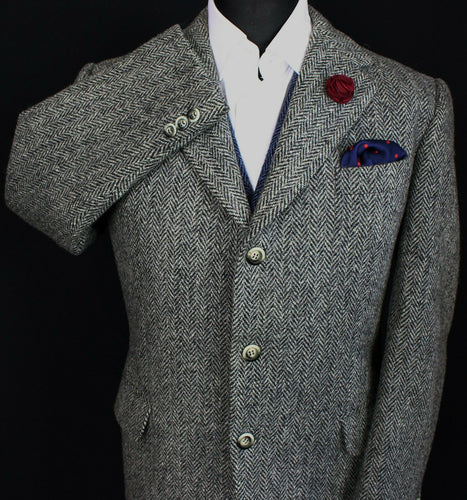 Harris Tweed Jacket Blazer Grey Black 42R SUPERB QUALITY 3406