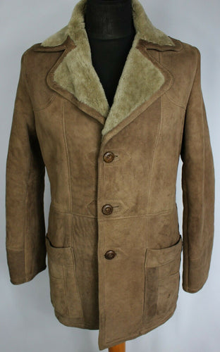 Shearling Sheepskin Suede Leather Distressed Brown Coat 36/38 Small DL84