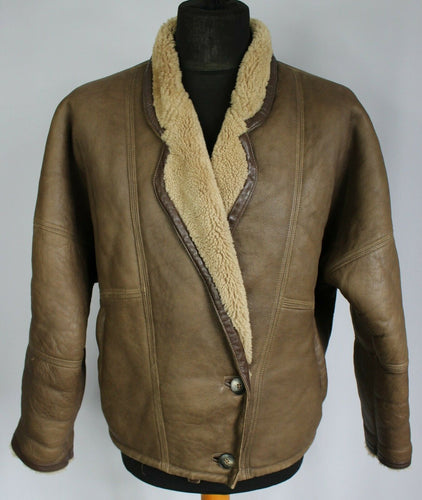 Shearling Sheepskin Leather Vintage Jacket Brown UK 16 EU 44 DL080