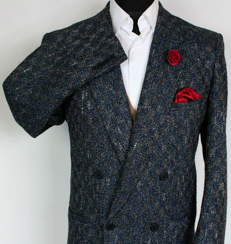 Tweed Blazer Jacket Blue Double Breasted Italian Made 42L SUPERB RARE TWEED 3896