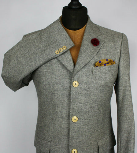 KENZO Blazer Jacket Grey Wool Lightweight 38R WONDERFUL GARMENT 2306