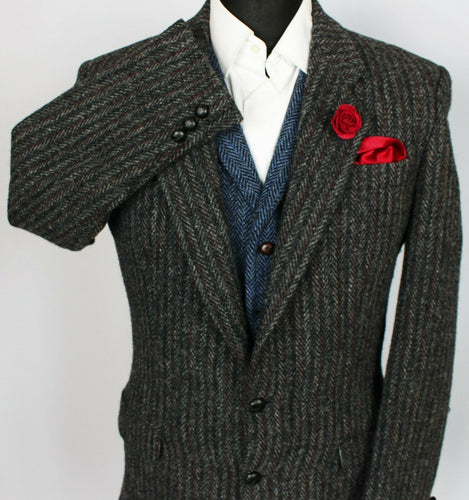 Harris Tweed Jacket Blazer Black Grey 38R RARE COLOURS 3799
