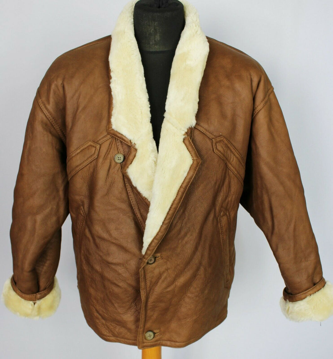 Shearling Jacket Coat Sheepskin Nappa Leather Brown 44 Large DL092