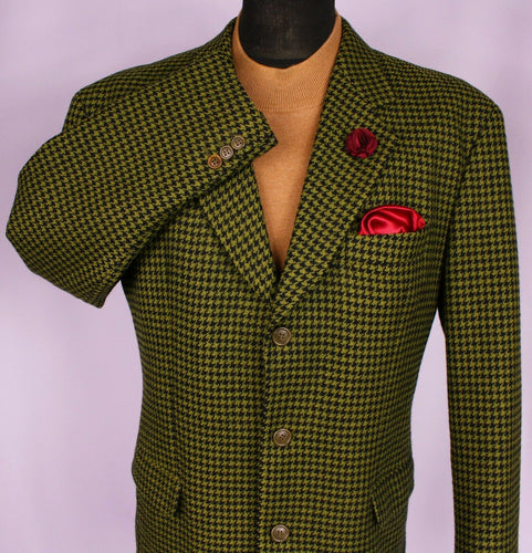 Tweed Hugo Boss Blazer Jacket Green Lambswool 44R AMAZING COLOUR FABRIC 3159