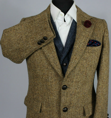 Harris Tweed Blazer Jacket Brown 36XS SUPERB WEAVE 3415
