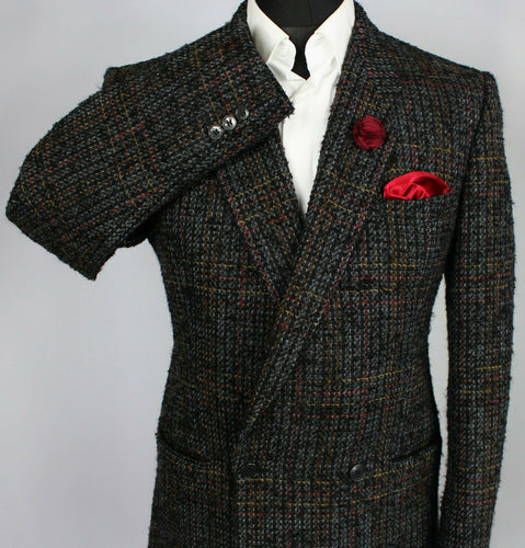 Tweed Blazer Jacket Wool Mohair Double Breasted 38R SUPERB COLOURS 3515
