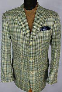 Summer Blazer Jacket Cream Blue Daniel Hechter 42R Wool & Silk 2973