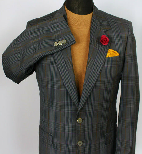 Blazer Jacket Pierre Cardin Grey Check 38R SUPERB GARMENT 3748
