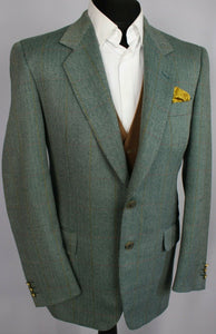 Tweed Blazer Jacket Green Merino Wool Pierre Cardin 40R FANTASTIC GARMENT 3417