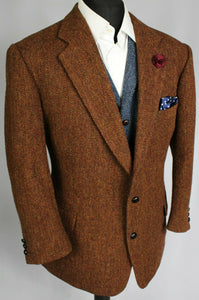 Harris Tweed Blazer Jacket Brown Wedding 44S AMAZING COLOURS 3662