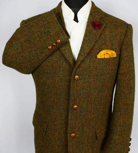 Harris Tweed Blazer Jacket Brown 44S AMAZING VIBRANT COLOUR 3618