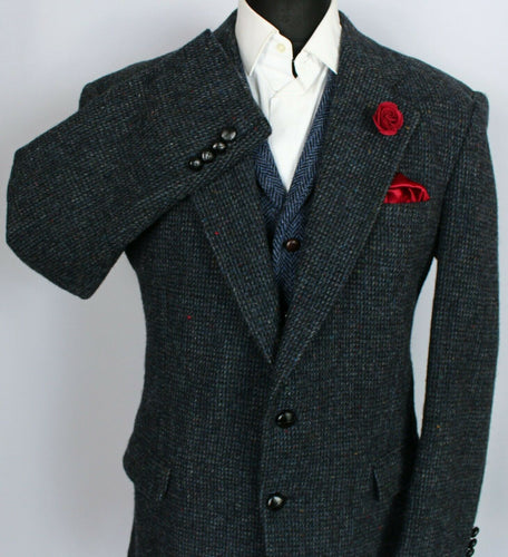 Harris Tweed Blazer Jacket Blue Wedding 44R SUPERB QUALITY 3795
