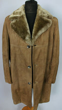 Load image into Gallery viewer, Faux Shearling Sheepskin Suede Brown Coat 44 Large DL98