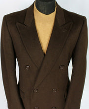 Load image into Gallery viewer, Coat Brown Double Breasted Wool Cashmere 42R EXCEPTIONAL 3741