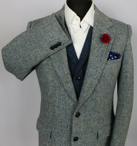 Harris Tweed Jacket Blazer Blue 38R RARE COLOURS 3796