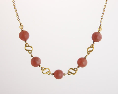 Scroll Necklace with Rhodochrosite Beads