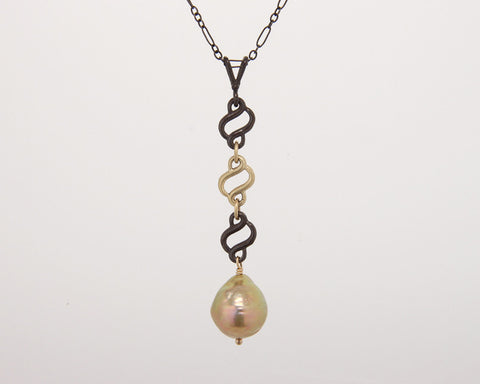 Scroll Necklace with Golden Pearl