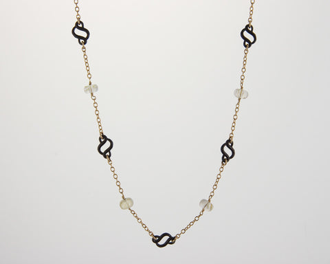Scroll Station Necklace with Rutilated Quartz