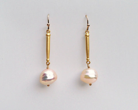 Spike Pearl Earrings in Gold Vermeil