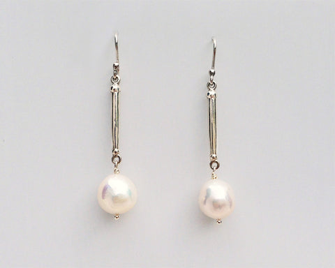Spike Pearl Earrings in Silver