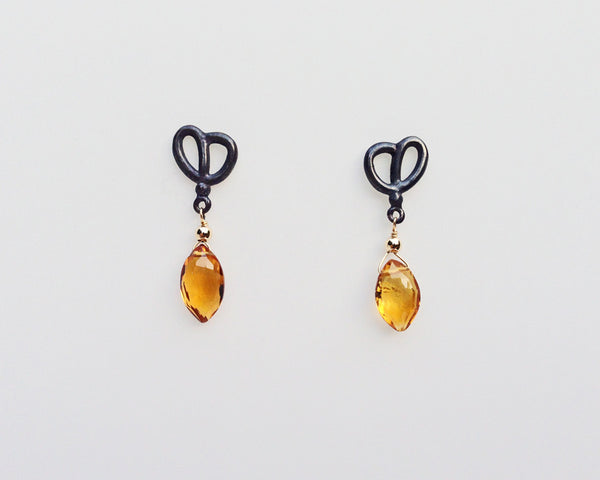 Corazon Post Earring in Oxidized Silver with Citrine Marquise