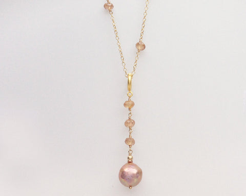 Naja Drop Necklace with Pearl and Natural Zircon Pendulum