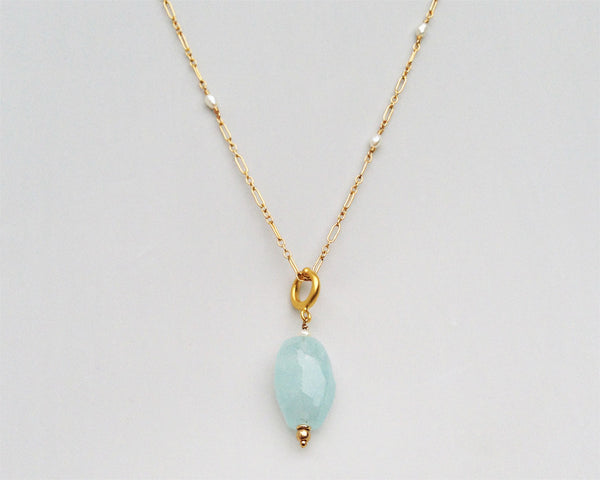 Naja Necklace with Aquamarine Pendant and Seed Pearls