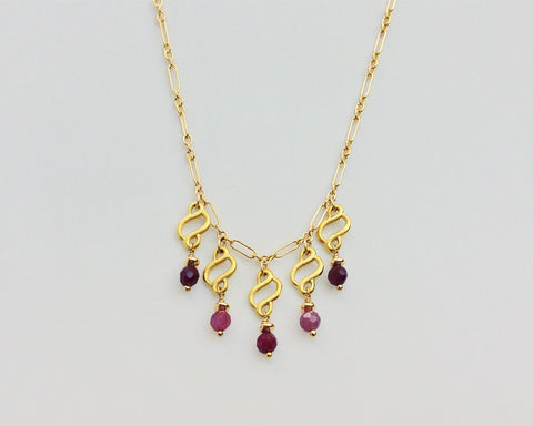 Droplet Necklace with Scrolls, Pink Sapphires and Rubies