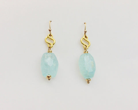 Scroll Earring with Aquamarine Faceted Nuggets