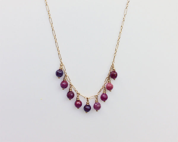 Droplet Necklace with Pink Sapphires and Red Rubies
