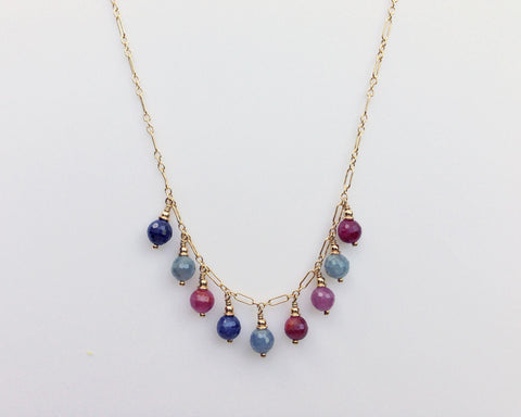 Droplet Necklace with Multi Color Sapphires and Rubies