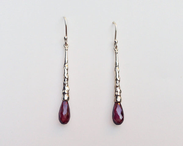 Teardrop Earrings with Rhodolite Garnet Briolette