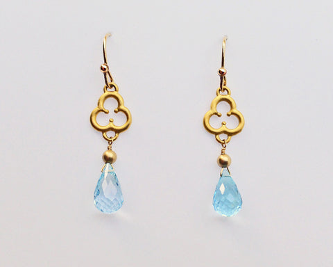 Trefoil Earrings with Swiss Blue Topaz
