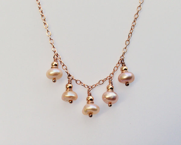 Droplet Necklace with Pink Keshi Pearls