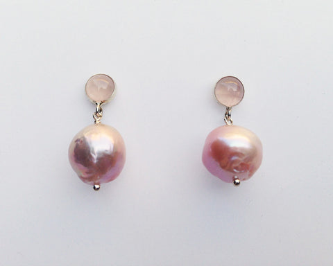 Rose Quartz Cabochon and Pink Baroque Pearl Earrings