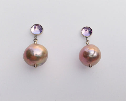 Rose Cut Amethyst with Mauve Baroque Pearl Earrings