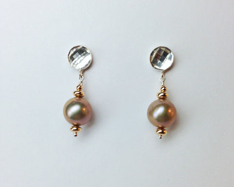 Arte Earrings with Rose Cut White Topaz and Champagne Pearl