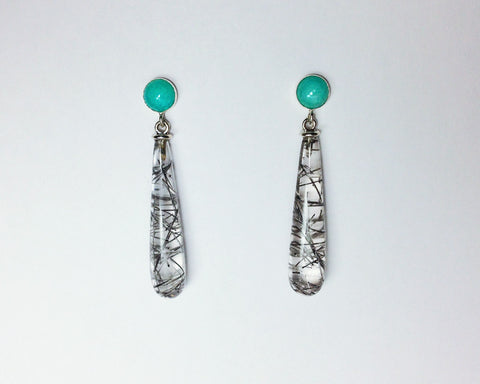 Arte Earring with Amazonite and Tourmalinated Quartz