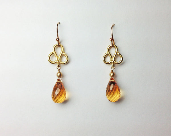 Clover Earrings with Citrine Briolettes