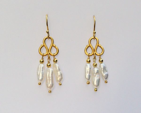 Clover Earrings with Triplets of White Baroque Rice Pearls