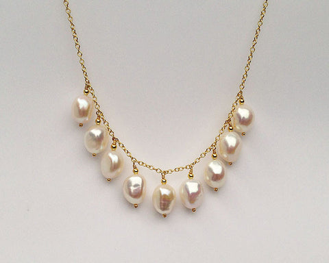 Droplet Necklace with Large White Baroque Pearls