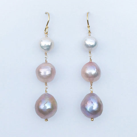 Classic Three Pearl Drop Earring