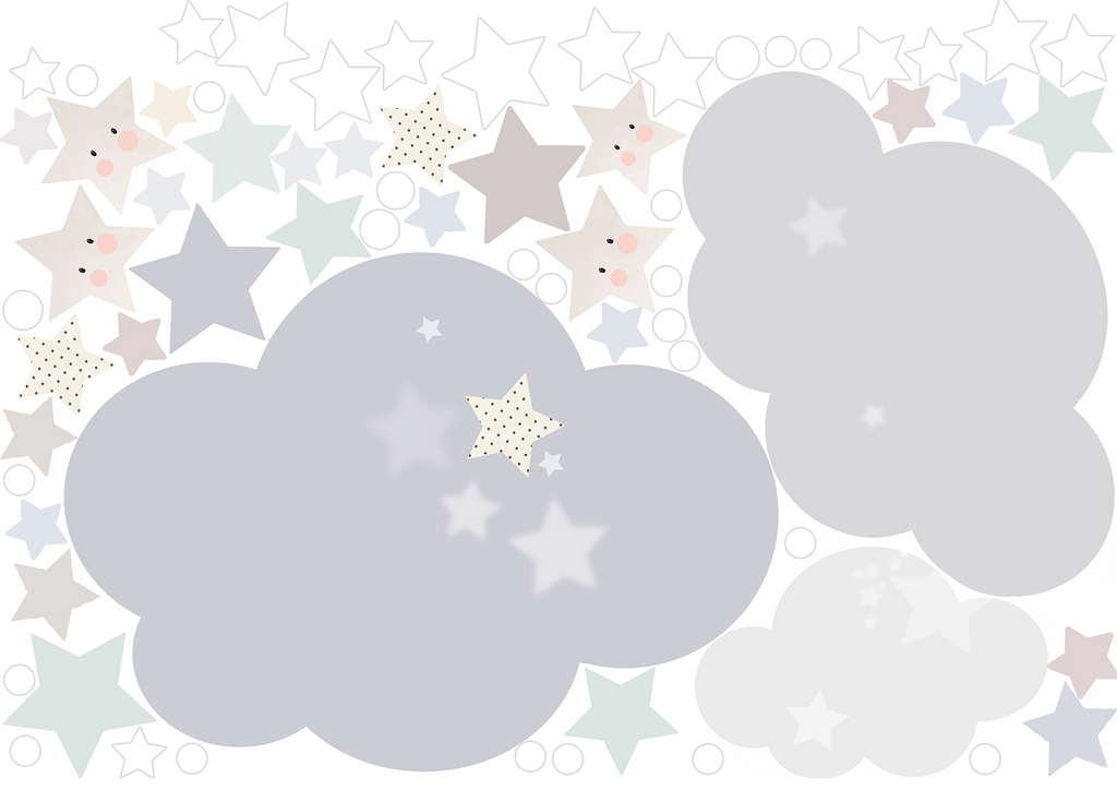 Extras Sheet - Sleepy Moon Blue Wall Sticker - Schmooks