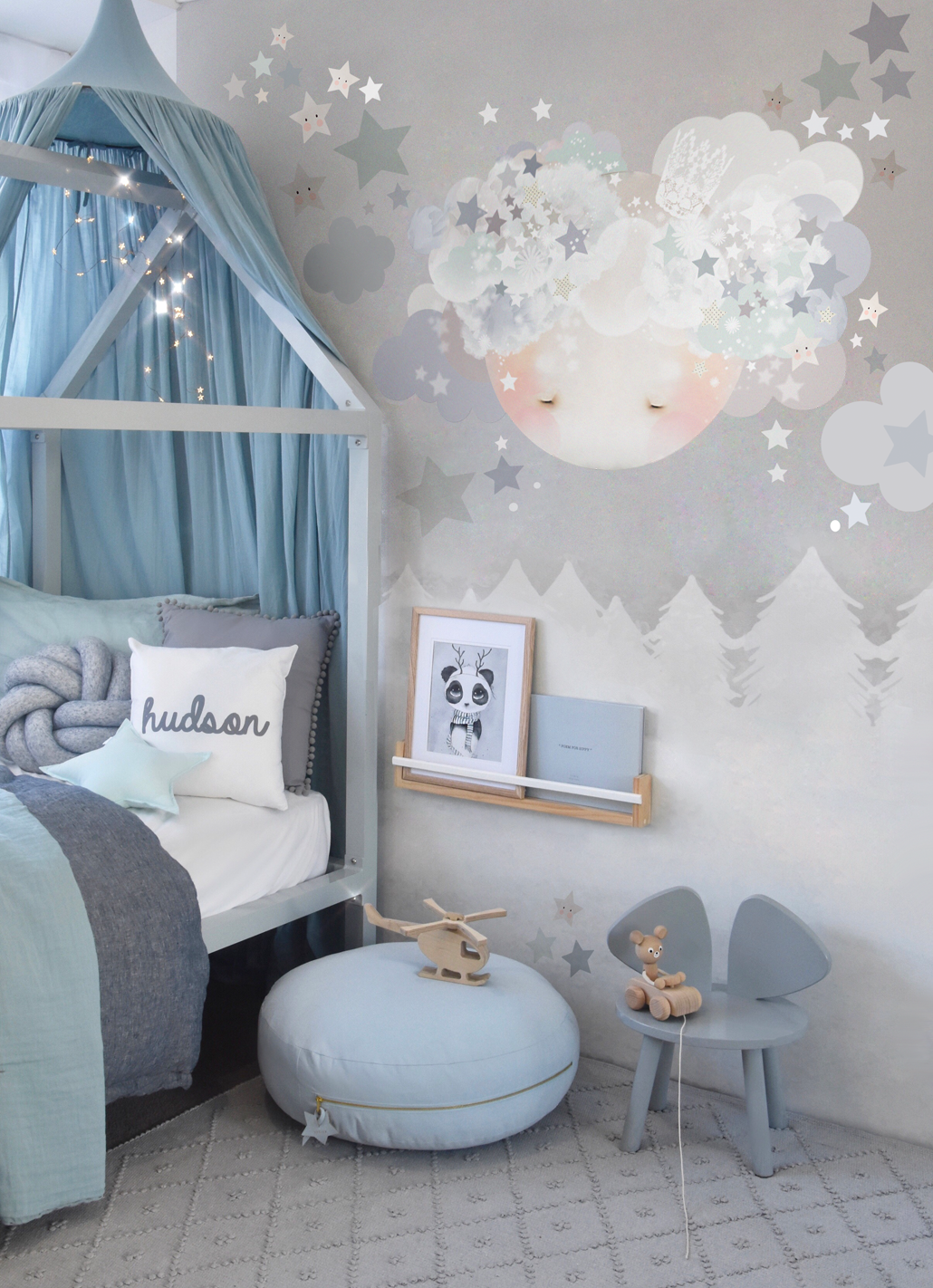 Sleepy Moon Wall Sticker - Blues