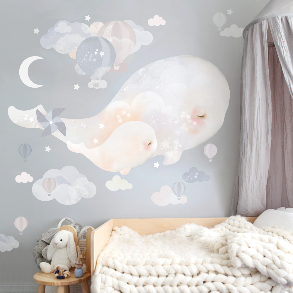 Beluga Whales Wall Sticker - Schmooks - Australian made - removable wall stickers - kids wall decals - nursery decor - nursery design - kids wall art - wall stickers - original artwork - original Australian wall art