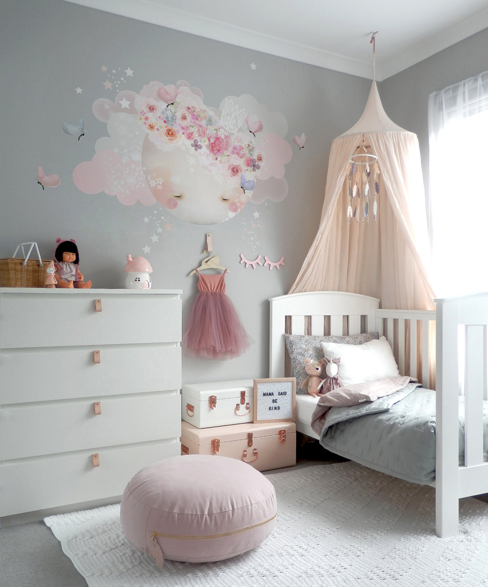 Sleepy Moon Wall Sticker - Pinks